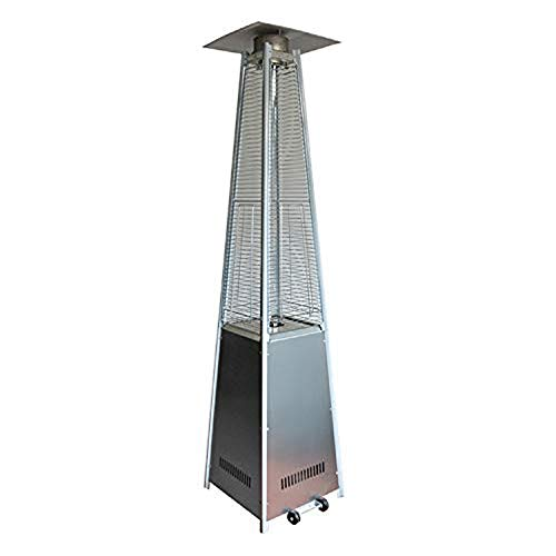 MoMi Outdoor Patio Heater Liquefied Gas with Wheels Stainless Steel Standing Heater Garden Heater,Stainless Steel