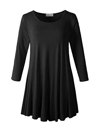 LARACE Women 3/4 Sleeve Tunic Top Loose Fit Flare T-Shirt(1X, Black)
