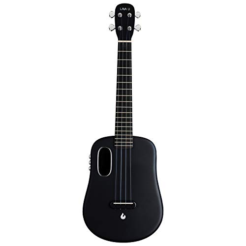 LAVA U Carbon Fiber Ukulele with Effects Tenor Travel Ukulele with Case Pick and Charging Cable (FreeBoost, Sparkle Black, 26-inch)