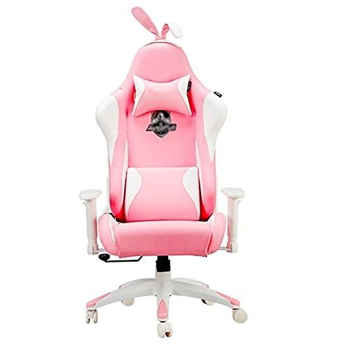 Sedia Gioco Rosa Gioco in Casa Gioco per Internet Cafe Net Red Anchor Live Chair Libro per Ragazza Ufficio (Color : Pink, Size : 70x50x129cm)