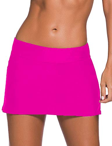 Women Sexy Pure Color Waistband Skirt Bikini Bottom Rose Red Medium