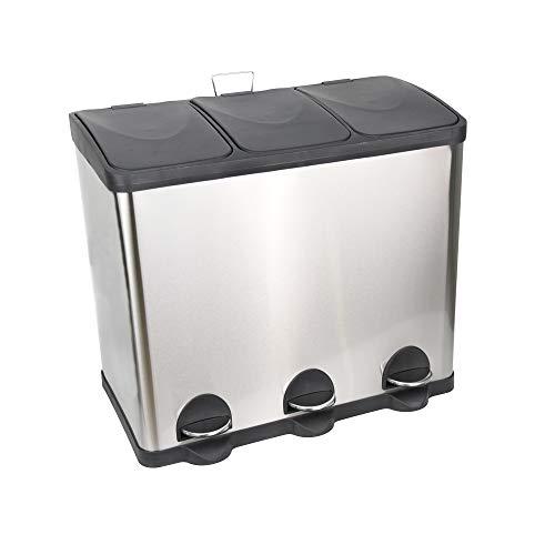 Ribelli Pattumiera in acciaio inox pattumiera differenziata pattumiera a pedale contenitore rifitui 60 L, 3 x 20L