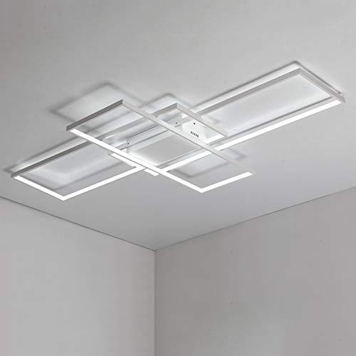 SJUN LED Lámpara de techo moderna, rectangular Luz de Techo Lámpara de araña Pantalde aluminio acrílico moderna y elegante blanca mate Sala de Estar Luz de techo [Clase de eficiencia energética A]