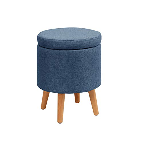 PuuuK Upholstered Stool Creative Storage Low Stool Household Shoe Changing Stool, Removable Cover for Easy Storage,Blue,5.9in legs