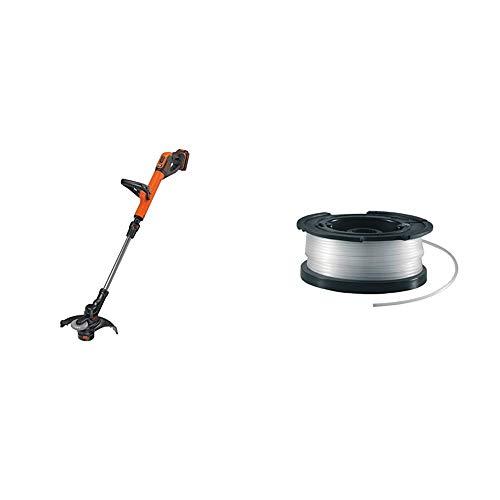 BLACK+DECKER 18V Cordless 28 cm String Grass Trimmer 2.0Ah Lithium Ion Battery & A6481 Spool + Line for Reflex Strimmer