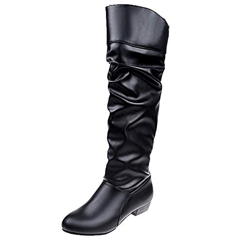 UOKNICE Women Knee-Hight Boots Solid Color Flat Leather Boots Slip-On Boots Party Shoes(Black, CN 39(US 7.5))