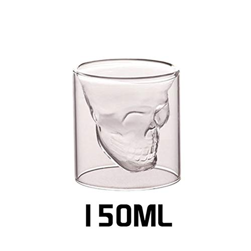 QJTZ Taza de Cristal de Vino de café Taza de Cristal Transparente de Doble capado Copa de Cristal de la Cabeza para el hogar de la Barra de la Barra del Vino 0412 (Color : 150ml)