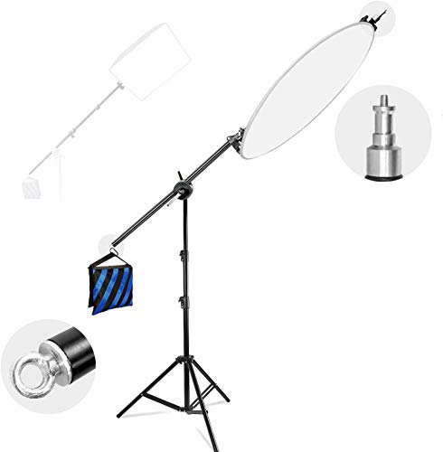 LimoStudio Photo Studio 78' Tall Lighting Reflector Arm Stand Reflector Stand Holder Boom Arm, Light Stand, Sandbags Saddlebag, Adapter Clamp Connects Boom Arm to Stand, AGG812