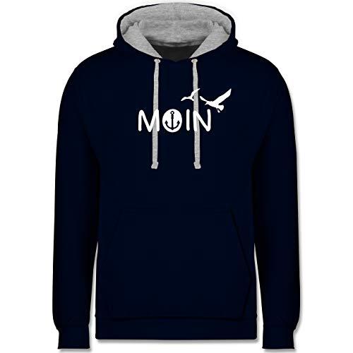 Statement - Moin - XL - Navy Blau/Grau meliert - Pullover Moin Moin - JH003 - Hoodie zweifarbig und Kapuzenpullover für Herren und Damen