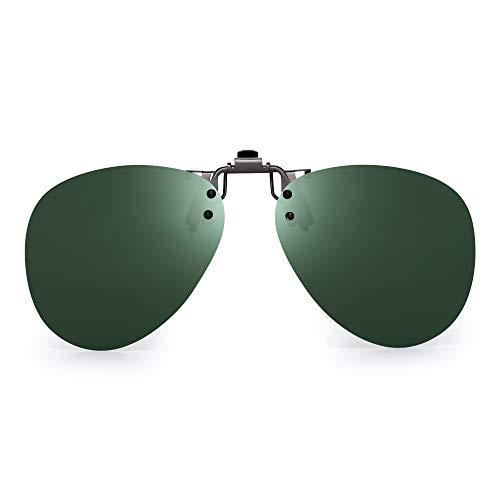 JM Occhiali da Sole Clip Polarizzata Lenti Flip Up Stile Senza Cornice per Occhiali da Vista Verde