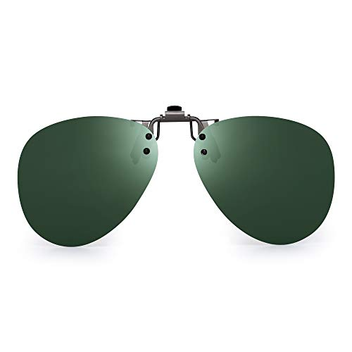 JM Occhiali da Sole Aviatore Clip Polarizzata Lenti Flip Up Stile Senza Cornice per Occhiali da Vista Verde