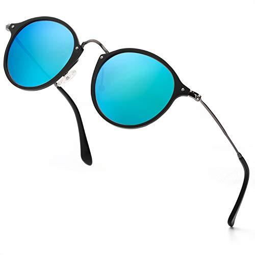 ELIVWR Runde Retro Polarized Sonnenbrille für Männer und Frauen Vintage Classic Light Metall Frame, UV 400 (grauer Rahmen/blaue Linse)