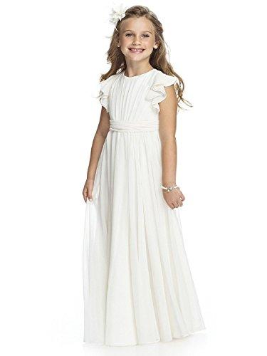 Abaowedding Fancy Chiffon Flower Girl Dresses Flutter Sleeves Junior Bridesmaid Dress(Size 6,Ivory)
