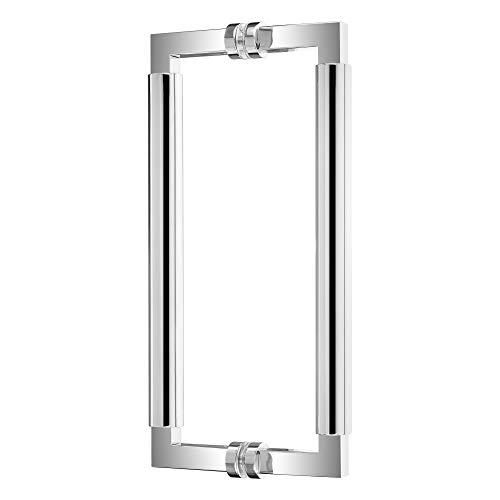 Griffpaar für Schiebetüren Bauhaus | Edelstahl poliert | Lochabstand: 350 mm | Für Holz- und Glastüren