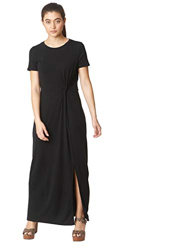 VERO MODA Damen Vmava Lulu Ss Ancle Dress Noos Lässiges Kleid, Schwarz, S