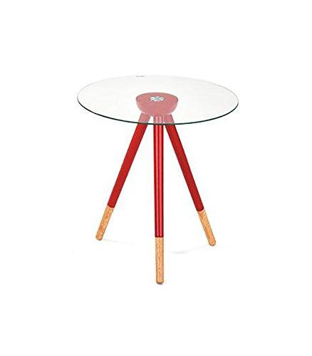 Meubletmoi salontafel Scandinavisch – nachtkastje/bijzettafel – glasplaat/voet hout – Pop Rood
