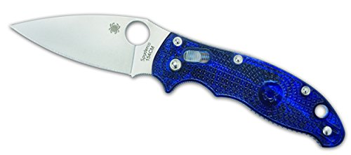 Spyderco Messer Manix 2 Transluscent Handle Blue Plain, blau, One Size