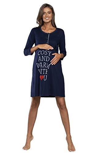 Italian Fashion IF Camisón de noche para mujer, para lactancia, embarazo, maternidad, ropa de noche, moda premamá con botones continuos, camisa de nacimiento para madre azul oscuro M