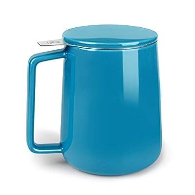 KitchenTour Porcelain Tea Mug with Infuser and Lid - Large Capacity Mug with Infuser Basket - 20oz, Steel Blue