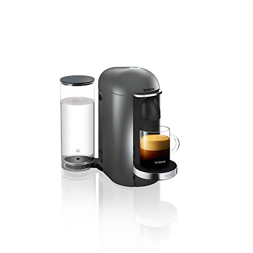 Nespresso, Pod Coffee Machine, Krups, Vertuo Plus, Titanium - Claim 50 coffee capsules plus 2 months' (1st & 6th) coffee subscription for free when you buy this product