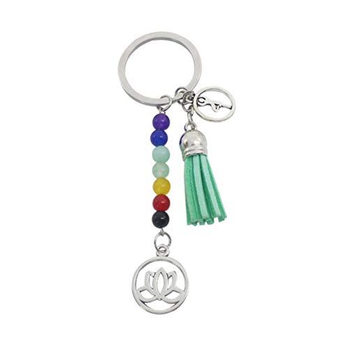 VORCOOL Yoga Keychain Bunte Stein Quaste Lotus Anhänger Schlüsselanhänger Geschenk Tasche hängen Ornament (grün)