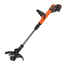 BLACK+DECKER STC1820PC-QW Coupe-bordures sans fil – Vitesse de coupe variable Eco-Turbo – Tête orientable à 180° et fonction dresse-bordures, 18V, Orange, 28 cm