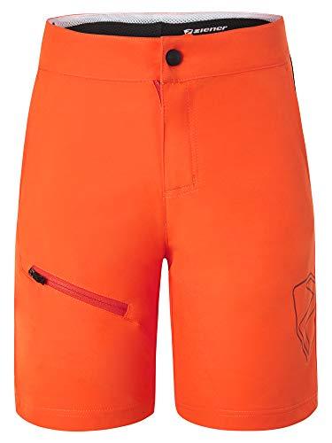 Ziener Unisex Kinder Natsu X-Function Fahrrad-Shorts/Rad-Hose mit Innenhose/Mountainbike - atmungsaktiv schnelltrocknend gepolstert, orange pop, 140