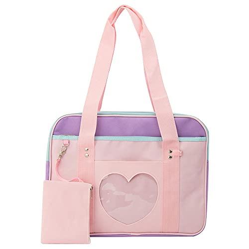 Ita Bag Fashion Love Clear Crossbody Bag Bolso de hombro Monedero Lolita JK Bag Anime Bag para ni?as-Rosado morado_Medio