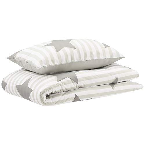 AmazonBasics Parure de lit pour enfant avec housse de couette, microfibre, étoiles - 100 x 135cm + 40 x 60cm