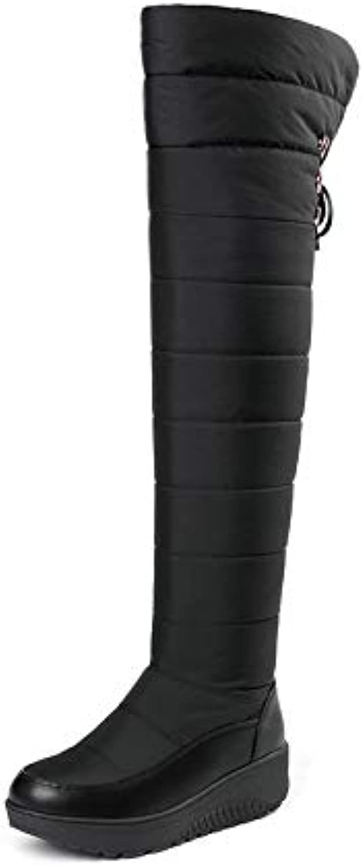 HAOLIEQUAN Frauen Stiefel über Die Stiefel Warme Warme Pu Leder Sonw Stiefel Schwarz Winter Schuhe Größe 35-44 Halten  Sparen Sie 60% Rabatt und schneller Versand weltweit