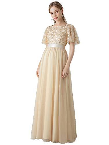 Ever-Pretty Damen Abendkleid A-Linie Spitze Kurze Ärmel Partykleid lang Gold 36