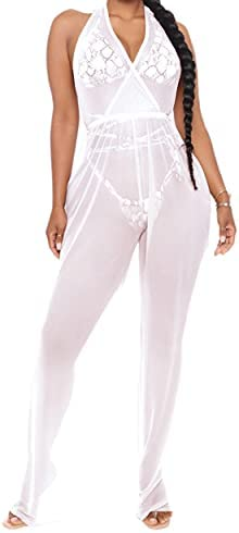 Sheer jumpsuit cover up