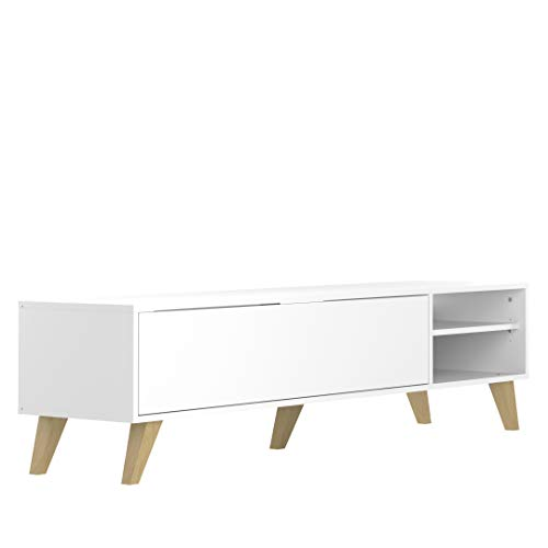 Marca Amazon - Movian Enol - Mueble para TV, 165 x 40 x 43.2 cm (largo x ancho x alto), blanco con patas de madera de haya