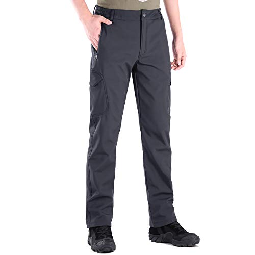 FREE SOLDIER Pantaloni da Lavoro Uomo Pantaloni Sci Termici Pantaloni Trekking Impermeabile Invernali Pantaloni da Caccia Militari Tattici Pantaloni da Neve Softshell Foderati in Pile(Grigio,46 Lungo)