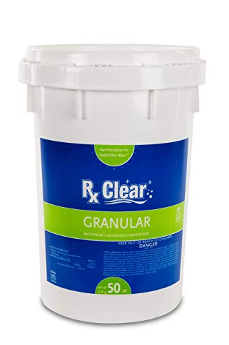 Rx Clear Stabilized Granular Chlorine | One 50-Pound Bucket | Use As Bactericide, Algaecide, and Disinfectant in Swimming Pools and Spas | Fast Dissolving and UV Protected