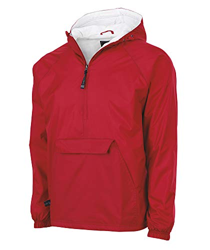 Charles River Apparel Wind & Water-Resistant Pullover Rain Jacket (Reg/Ext Sizes), Red, S