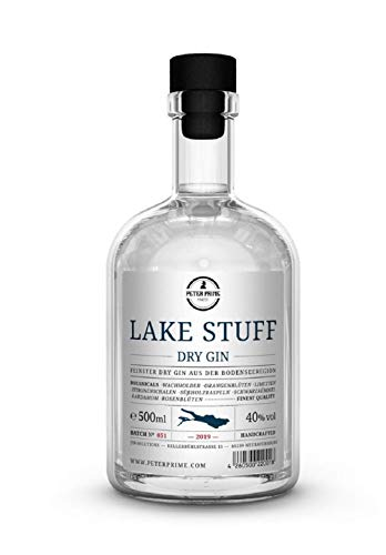 Lake Stuff Gin von Peter Prime Finest® Hergestellt am Bodensee -Dry Gin Aus Deutschland - fruchtiger Geschmack - einzigartige süßliche Note -0,5 Liter