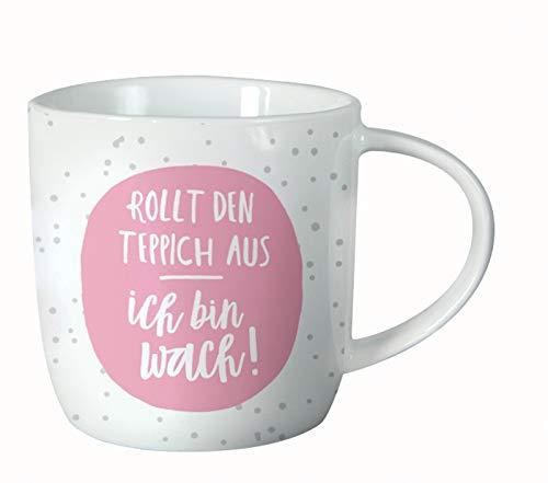 Grafik Werkstatt Goede-Laune-mok voor koffie, cappuccino, thee, rolt het tapijt uit, ik Bin wakker