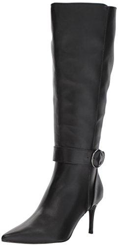 NINE WEST Women's MORETALKNW Knee High Boot, Black Wide Synthetic, 7.5 Medium US