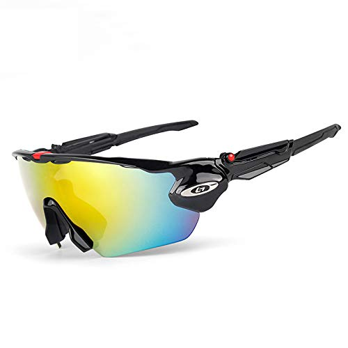OPOLLY Gafas De Sol Polarizadas Al Aire Libre, Gafas A Prueba De Viento para Bicicletas, Gafas Deportivas Al Aire Libre con 5 Lentes Intercambiables, Usadas para Ciclismo, Pesca, Montañismo,Negro