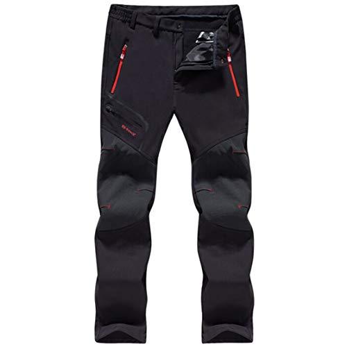 Gaga city Pantalones de Trekking Impermeables Softshell Hombre Invierno Mujer Pantalones de Montaña Transpirable Fleece Lined Pantalon Escalada Senderismo Aire Libre Pantalon Hombre/negro/4XL-185/86A