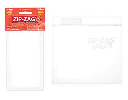 Zip-Zag airtight Bags, resealable, Reusable, Smell Proof Bags, Odor Proof Baggies, Anti-Puncture, Washable, Food Safe, Treated for no Static, for Dry Herbs and Spices (25 one-Ounce Bags)