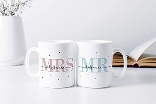 2er Set Tasse Set Mr + Mrs   Hochzeitstag   Jahrestag   Ehe   Paar   Verlobung   Hochzeit   Geschenk   personalisiert   Mrs + Mrs   Mr + Mr (MR & MRS - Weiß)