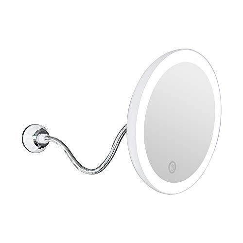 Kosmetikspiegel, 10x Lupe Make up Spiegel, Klappbarer Kosmetikspiegel mit Saugnapf, LED Schminkspiegel, 360 Grad Drehfunktion, für Reisebad (Batteriebetrieben)