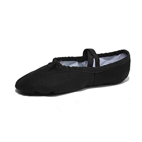 Lily's Locker - Ballettschuhe für Kinder Mädchen und Erwachsene geteilte Sohle klassische Leinen Balletschläppchen Fitness-Gymnastik-Schuhe (schwarz, hellrosa) für Ballettunterricht Yoga und Innenaktivitäten geeignet (Schwarz, 36)
