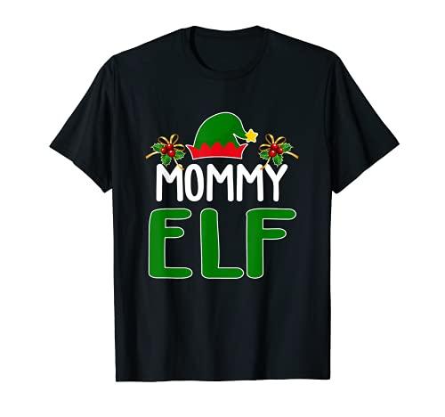 Mamá elfo a juego disfraz de Navidad para familia de elfos Camiseta