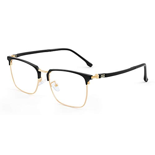 HQMGLASSES Gafas de Lectura de computadora de Titanio Anti-Azul de los Hombres, lectores de Lentes de Resina de Alta definición adecuados para Oficina/Costura dioptrías +1.0 a +3.0,Oro,+1.5