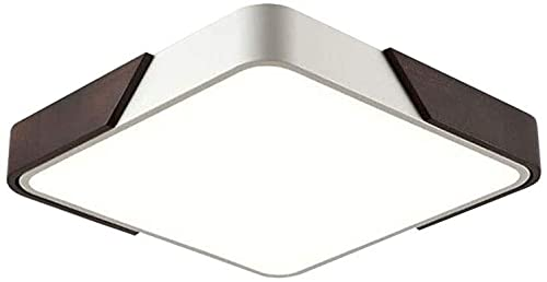 Con control remoto LED Luces de techo, lámpara de techo de rectángulo moderno, regulable con control remoto Walnut Walnut Madera Metal Blanco Sala de estar Luz Comedor Dormitorio Dormitorio Cocina Mes
