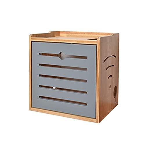 ksamwjf Caja de almacenamiento de router WiFi madera maciza estante de pared fila Hub Junta fuente luz gato acabado escritorio caja de almacenamiento