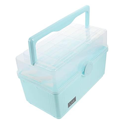 BESPORTBLE Primeiros Socorros Caixa de Medicina Caixa de Multi- Camada 1Pcs Portátil Medicina de Emergência Do Gabinete de Plástico Recipiente De Armazenamento De Medicina (Céu- Azul)